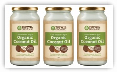 Bulk 3 x 1 Litre Organic Extra Virgin Coconut Oil in Glass