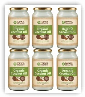Bulk 6 x 1 Litre Organic Extra Virgin Coconut Oil in Glass